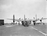 Avro York of No. 511 Squadron RAF being towed to its dispersal at RAF Lyneham, Wiltshire, England, United Kingdom, 1944-1945