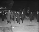 Clement Attlee, Violet Attlee, and others at Schiphol airport, Haarlemmermeer, Noord-Holland, the Netherlands, 3 Nov 1947