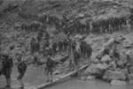 Young Chinese military cadets boarding a river boat, Hubei Province, China, 1942, photo 2 of 2