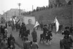 Lunar New Year parade, Chongqing, China, 15 Feb 1942; note mounted officers and portraits of Dr. Sun Yatsen, Chairman Lin Sen, and Premier Chiang Kaishek