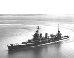 USS New Orleans in trials off Seattle in Elliott Bay, Washington, United States 30 Jul 1943 following major repairs at the Puget Sound Naval Shipyard.