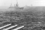 Cruisers USS New Orleans and St. Louis bombard Saipan in the Mariana Islands, 15 Jun 1944. Photo taken from USS Wichita.