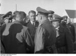 General Emil Leeb, Wernher von Braun, and Fritz Todt at Peenemünde, Germany, spring 1941