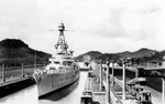 Cruiser USS Northampton in the Pedro Miguel Locks of the Panama Canal passing to the Pacific, Dec 1934.