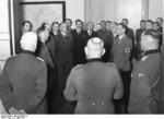 Heinrich Himmler, Konrad Meyer, Fritz Todt, Rudolf Heß, and other German leaders during a planning session for the German resettling of Eastern Europe, Berlin, Germany, 20 Mar 1941