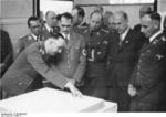 Heinrich Himmler, Philipp Bouhler, Rudolf Heß, Kurt Daluege, Fritz Todt, and Konrad Meyer during a meeting on the German resettling of Eastern Europe, Berlin, Germany, 20 Mar 1941