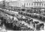Funeral procession of Fritz Todt, Unter den Linden, Berlin, Germany, 12 Feb 1942; note Wilhelm Keitel, Erich Raeder, Erhard Milch immediate behind the gun carriage