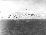 Destroyer USS Helm repelling a special attack from a Nakajima Ki-43