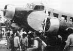 German built Junkers Ju-52 passenger airliner of the German owned Scadta Airline based in Columbia during a stop at Borinquen Field, Puerto Rico, 1939.