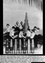Soldiers drill at a 155mm coastal defense gun protecting the Borinquen Field, Puerto Rico, 1940.