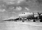 C-54 Skymaster transports lined up at Borinquen Field, Puerto Rico as part of Operation Green, the airlift of personnel from Europe to the Pacific, 1945.