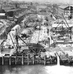 Puget Sound Naval Shipyard in Bremerton, Washington, United States with dry dock number two under construction, circa 1911.