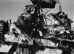 Photo taken at Puget Sound Naval Shipyard, Bremerton, Washington, United States, Feb 1945 showing island damage to USS Ticonderoga as the result of a direct hit by a special attack aircraft off Formosa (Taiwan).