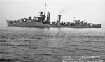 Broadside view of destroyer USS Cummings off Mare Island Naval Shipyard, 4 Mar 1942.