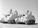 Side-by-side view of the two variants of the M3 tank. The Grant on the left with the British wider turret while the Lee on the right has the smaller American turret. El Alamein, Egypt, 7 Jul 1942.