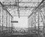 Interior of a slipway, AG Vulcan Stettin shipyard, Germany, date unknown