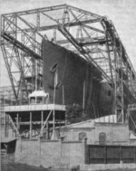 A ship under construction at AG Vulcan Stettin shipyard, Germany, date unknown