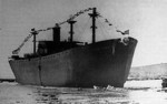 Liberty Ship Stephen Hopkins shortly after launching, Richmond Shipyards, Richmond, California, United States,