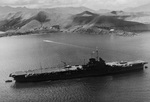 HMS Victorious moored at Nouméa, New Caledonia, summer 1943 during the period Victorious was operating with the US Fleet.