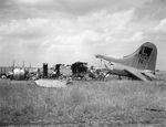 Wreckage of a 452nd Bomb Group B-17 Fortress as part of Operation Frantic after being destroyed on the ground the night before during a German bombing attack on Poltava, Ukraine, 22 Jun 1944.