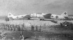 Two Mitsubishi G4M 'Betty' bombers that brought the Japanese surrender delegation to Ie Jima on 19 Aug 1945. The planes remained at Ie Jima as the delegation went on to Manila in a US transport (20 Aug 1945 photo).