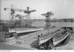 Launching ceremony of torpedo boats Tiger, Luchs, Jaguar, and Leopard at the Reichsmarinewerft facility in Wilhelmshaven, Germany, 15 Mar 1928