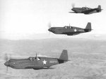 A flight of three A-36A Apache aircraft on a training flight near Savannah, Georgia, United States, 1942; the lead plane was destroyed in a landing accident 8 Jan 1943