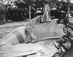 Wreckage of a Zero fighter after Pearl Harbor attack, Fort Kamehameha, Honolulu, US Territory of Hawaii, 7 Dec 1941