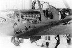 P-39 Airacobra aircraft with maintenance panels open, revealing the engine and other internal workings, date unknown