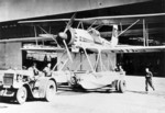 Ar 95 aircraft being towed out of a hangar, 1930s