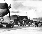 TBM-1C Avenger aircraft lined up at Naval Air Station Kahului on Maui, US Territory of Hawaii, 1942