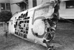 Wing of Japanese Type 97 torpedo bomber of Kaga that crashed at Naval Hospital, Pearl Harbor, Hawaii, United States during the 7 Dec 1941 raid; note rising sun insignia taken by souvenir hunters