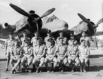 Graduates of No. 12 Course at No. 5 Operational Training Unit of the RAAF, 1943; note Beaufighter aircraft in background