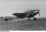 Bf 110 aircraft of German Zerstörergeschwader (Destroyer Wing) 76 preparing for flight, Western Europe, May 1940; note shark mouth marking