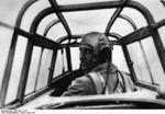Pilot of a German Bf 110 aircraft in flight, May 1940
