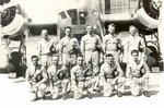 T/Sgt. Raymond A. Heilman, Jr. and fellow crew of the 11th Bomber Group Heavy of the USAAF 42nd Squadron posing by a B-18 Bolo bomber, Schofield Barracks, US Territory of Hawaii, circa 1940