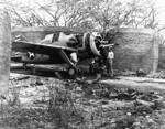 F2A-3 Buffalo fighter possibly of USMC squadron VMF-212 being serviced in a camouflaged revetment, Marine Corps Air Station Ewa, US Territory of Hawaii, 25 Apr 1942