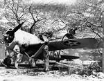 A F2A-3 Buffalo aircraft being refueled at Ewa Marine Corps Air Station, US Territory of Hawaii, 1 May 1942