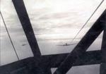 View from cockpit of a CG-4A glider as it was towed by a C-47 Skytrain aircraft, 1944