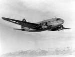 C-46 Commando aircraft in flight, circa late 1943 to 1945