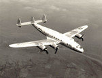 Prototype C-69 Constellation aircraft in flight, 1943