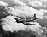 Corsair Mk II fighter of British No. 1833 Naval Air Squadron in flight near Naval Air Station Quonset Point, Rhode Island, United States, 1943