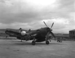 F4U-5N Corsair fighter of US Marine Corps squadron VMF(N)-513 at rest, Wonsan, Korea, 2 Nov 1950, photo 1 of 2