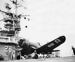 F4U-1 Corsair fighter of US Navy squadron VF-68A aboard USS Cabot off Pensacola, Florida, United States, Jun 1949; seen in Aug 1949 issue of US Navy publication Naval Aviation News