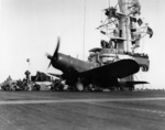 F4U-1D Corsair fighter of US Marine Corps squadron VMF-511 aboard USS Block Island, 5 Feb 1945
