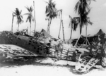 Wreckage of a D3A dive bomber in the Gilbert Islands, late 1943; US souvenir hunters were most likely the reason for the missing fuselage panels