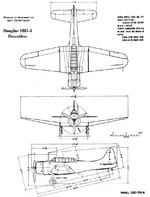 3-view drawing of the SBD-5 Dauntless aircraft
