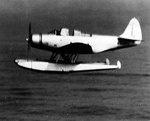TBD-1A experimental floatplane in low-level flight during torpedo drop tests at the Newport Torpedo Station, Rhode Island, United States, 10 Oct 1941