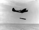 TBD-1 Devastator aircraft 6-T-19 of Torpedo Squadron 6 dropped a Mark XIII torpedo during exercises in the Pacific, 20 Oct 1941