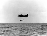 TBD-1 Devastator aircraft of Torpedo Squadron 6 dropped a Mark XIII torpedo during exercises in the Pacific, 20 Oct 1941, photo 1 of 2